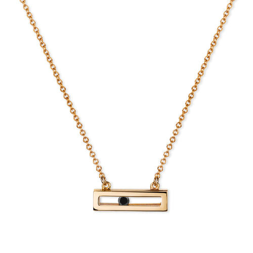 Black Slide Necklace Rose Gold