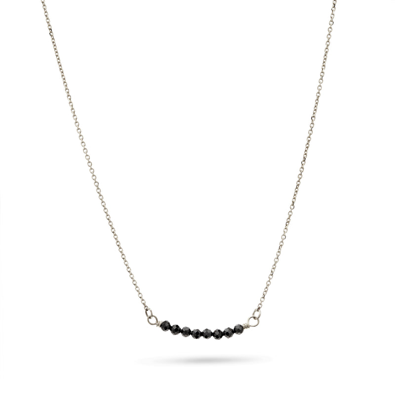 Silver and Black Spinel Necklace by Luke Rose