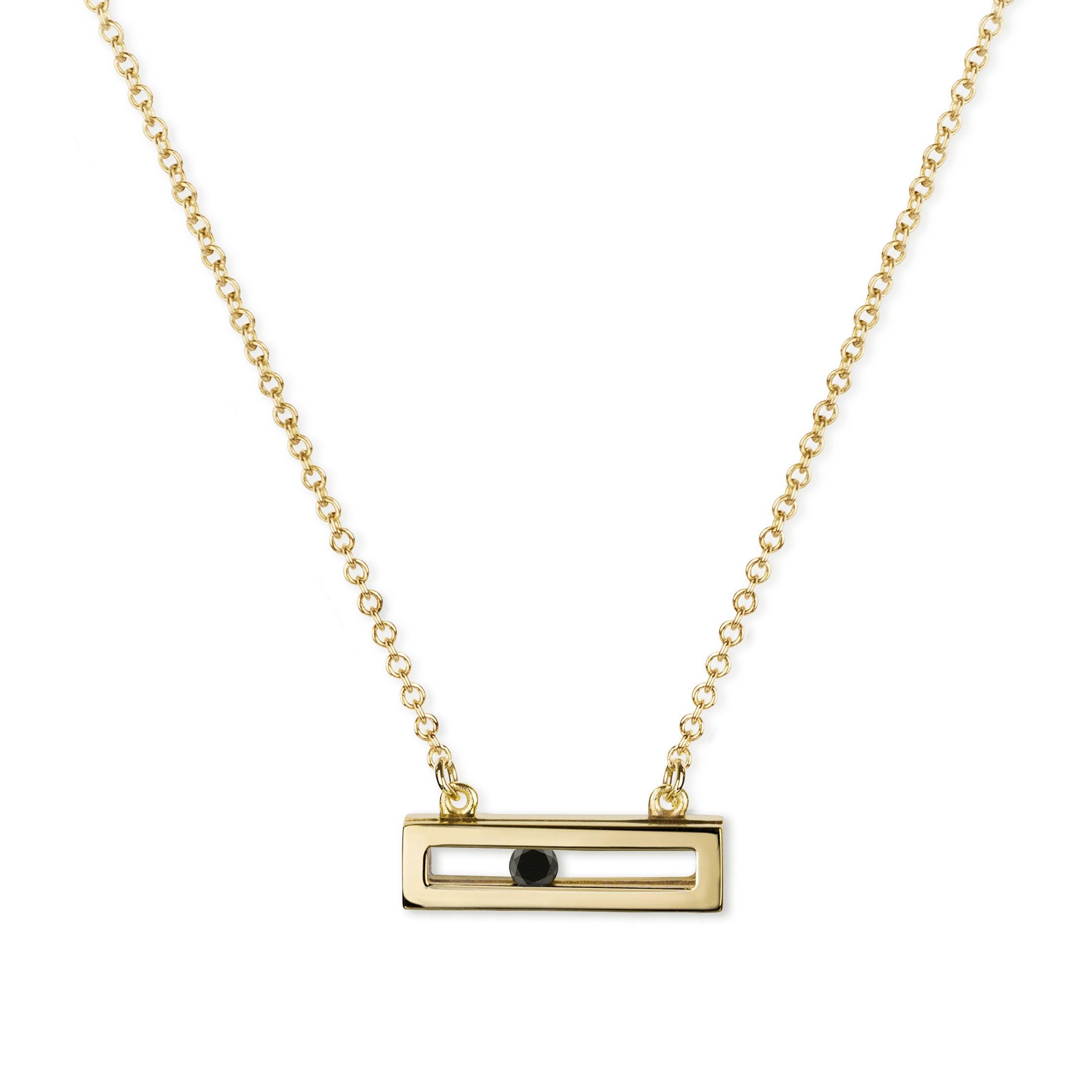 Luke Rose Jewellery gold sliding black diamond necklace