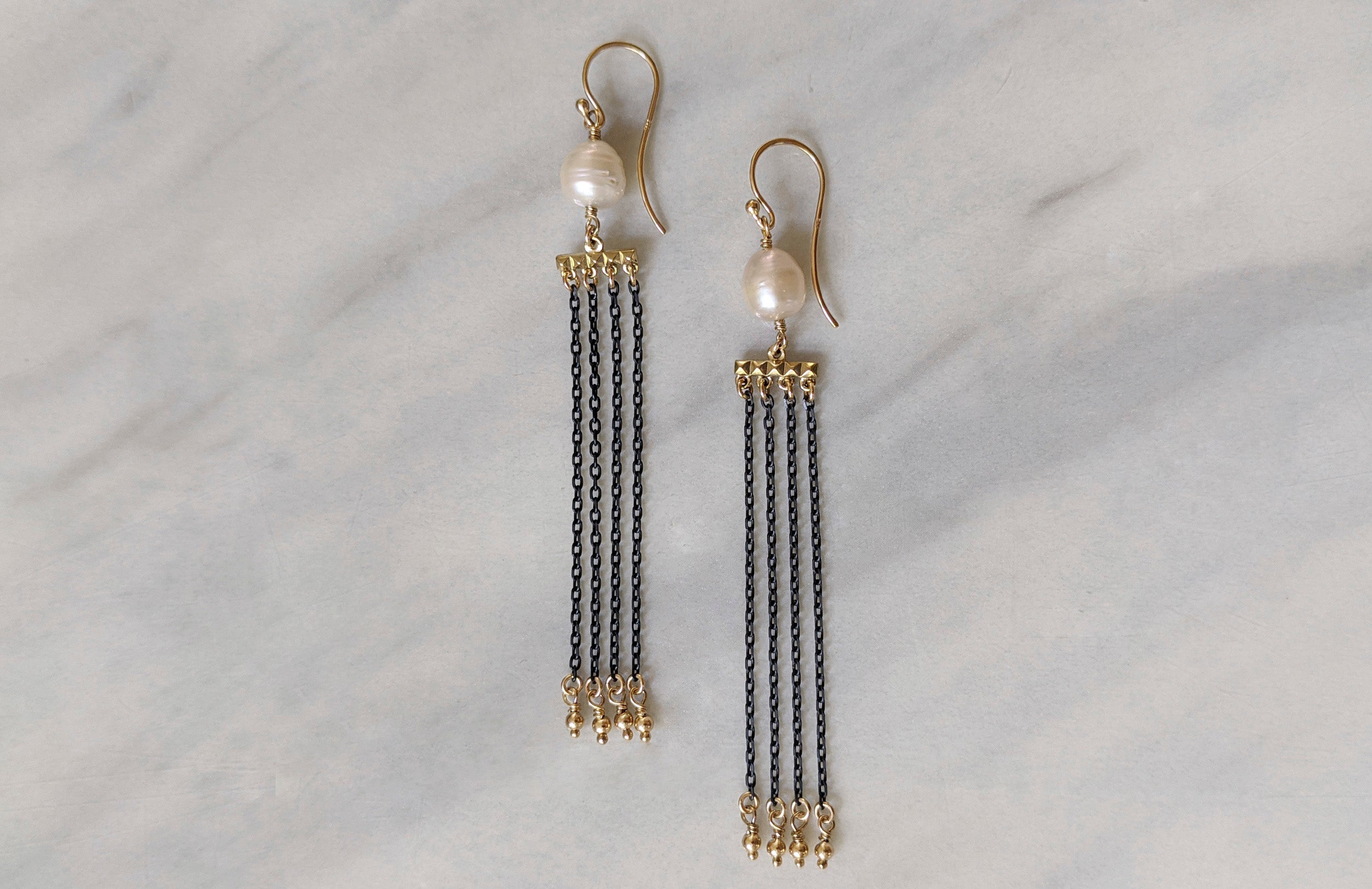 Freshwater Pearl Drape Earrings in 9ct Yellow Gold and Blackened Silver
