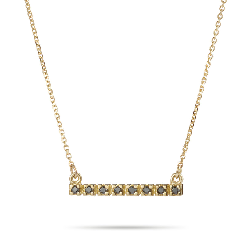 Black Diamond Turret Bar Necklace in Yellow Gold