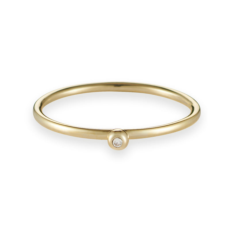 Diamond Dot Stack Ring in Yellow Gold