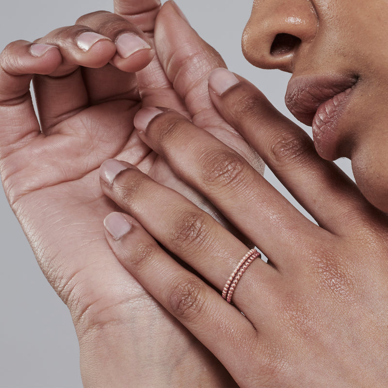 Dot Link Stack Ring in Rose Gold