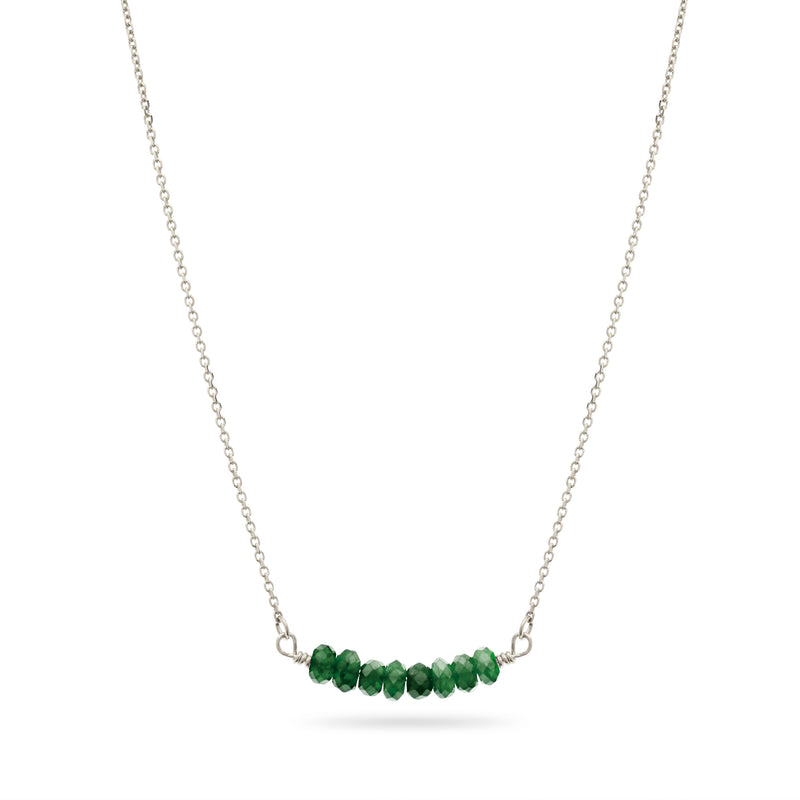 Emerald Smile Necklace in Sterling Silver