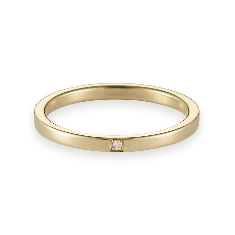 Fine Squared Diamond Band in Yellow Gold