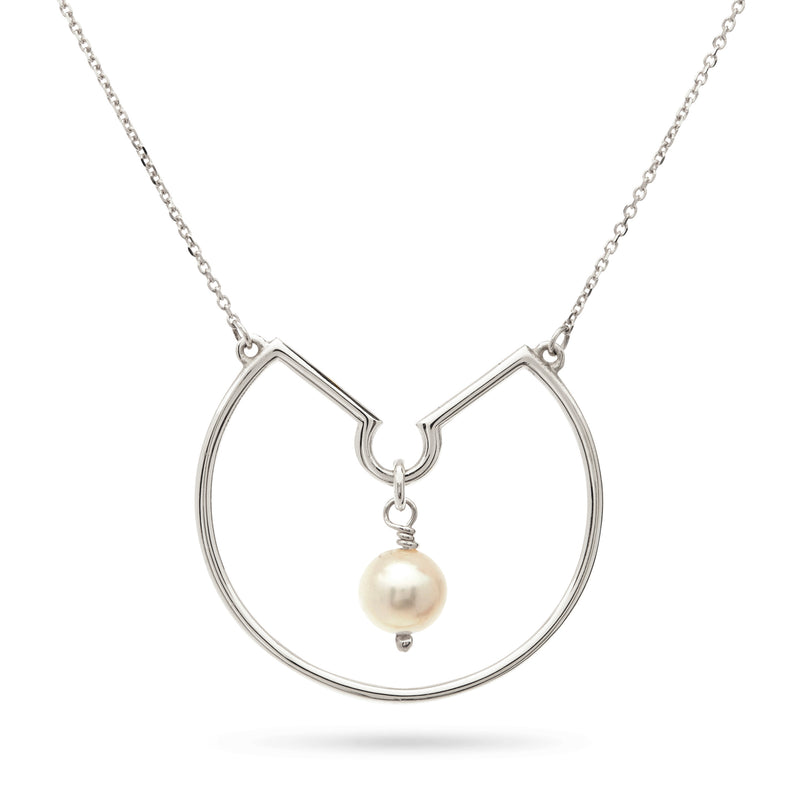 Freshwater Pearl Hoop Necklace in Sterling Silver