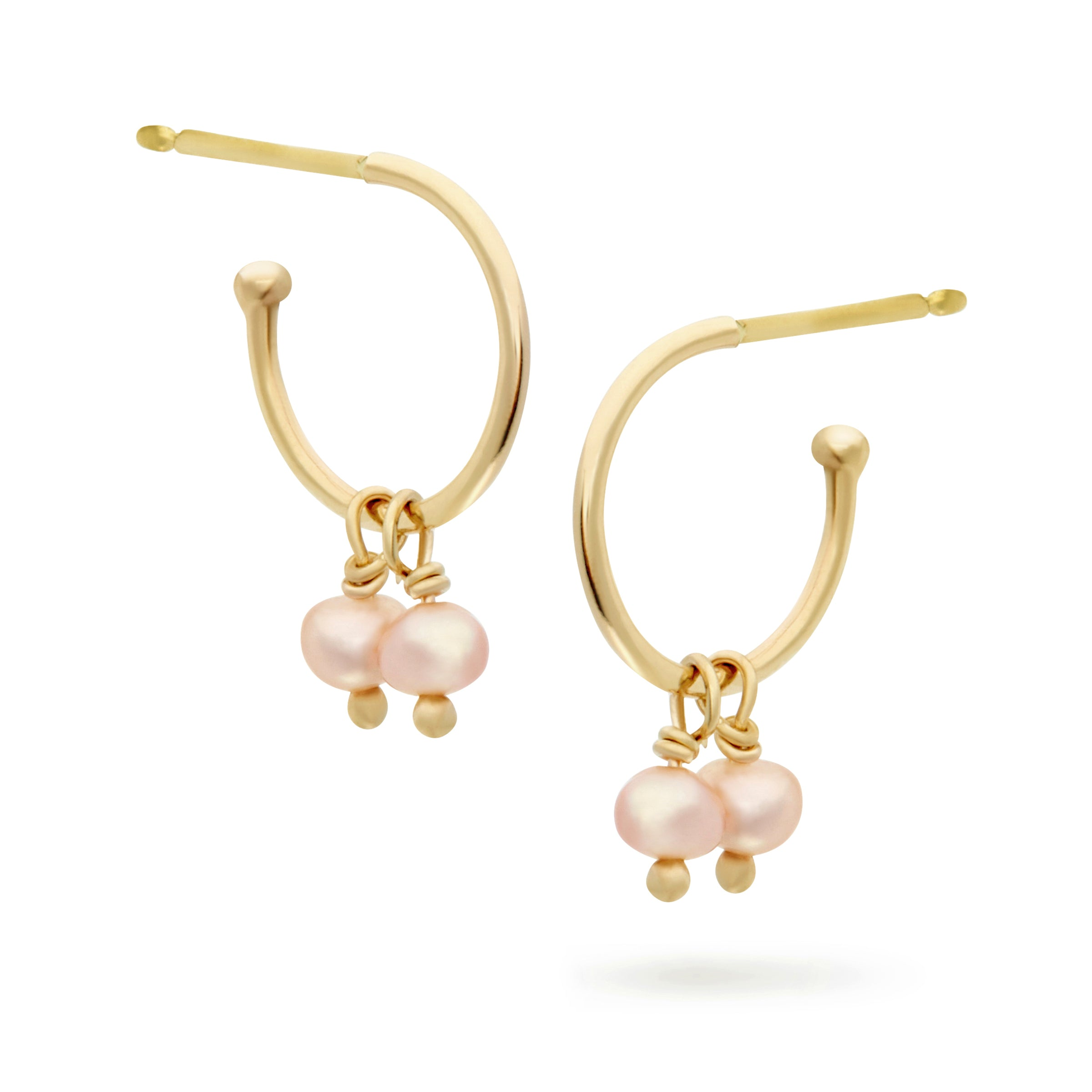 Gold and Pearl Sleeper Earrings by Luke Rose