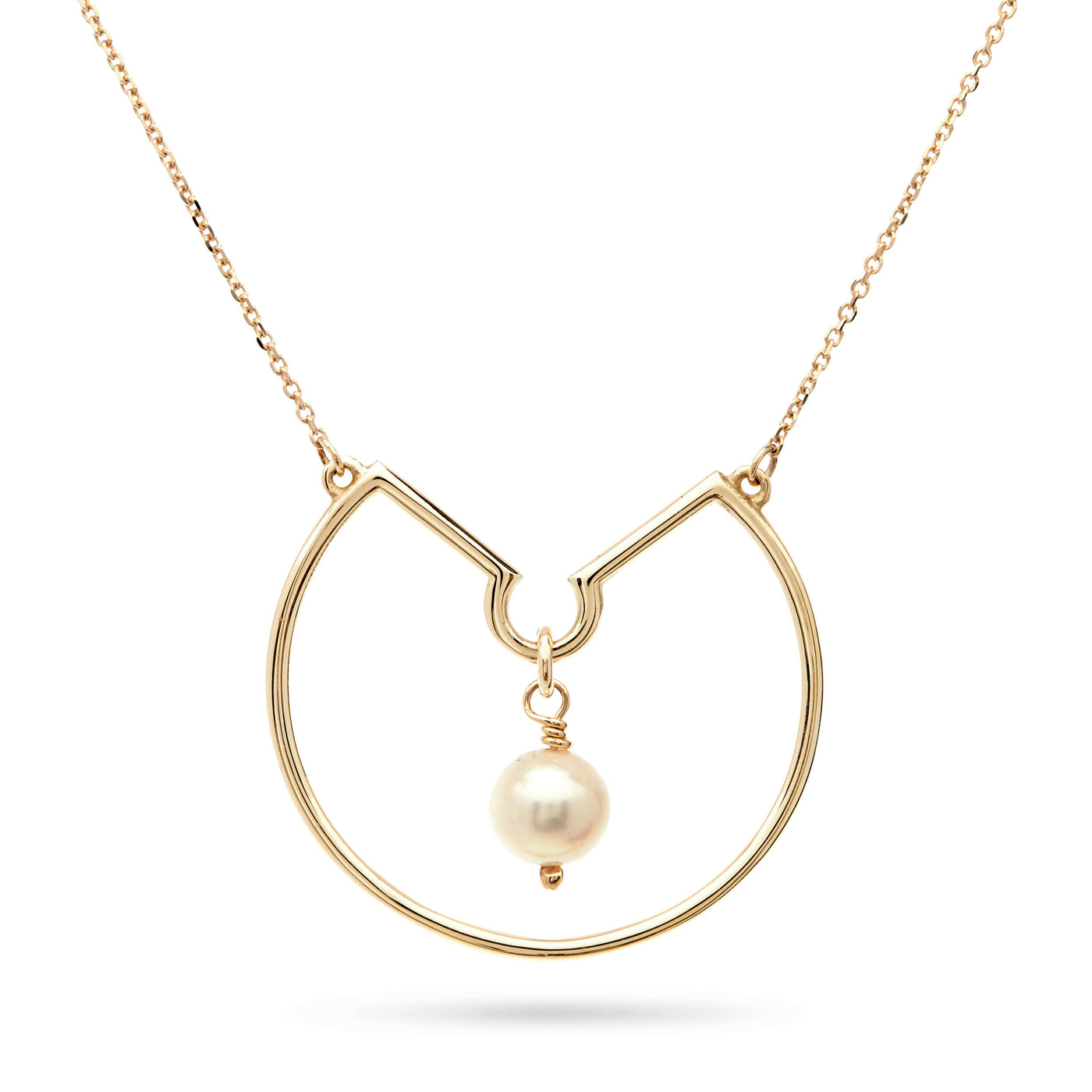 Freshwater Pearl Hoop Necklace in Yellow Gold