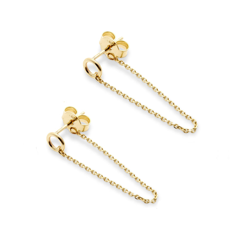 Halo Chain Stud Earrings in Yellow Gold