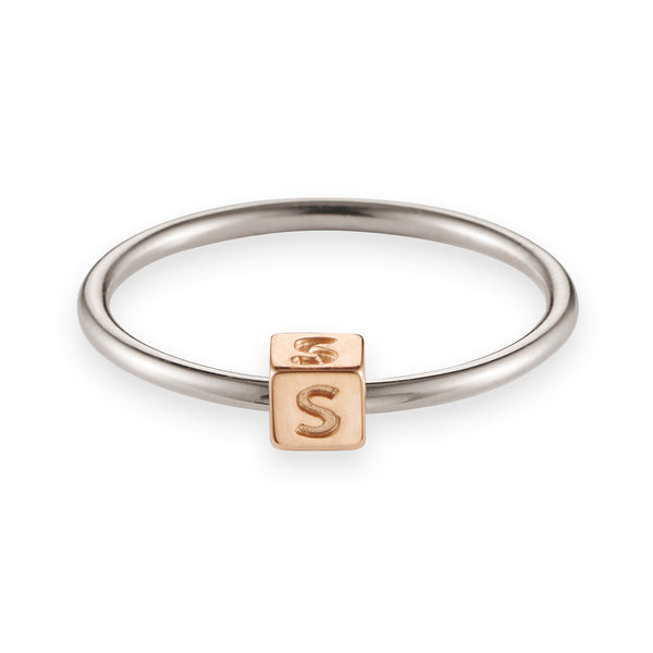 Cube Initial Ring in Sterling Silver and Rose Gold