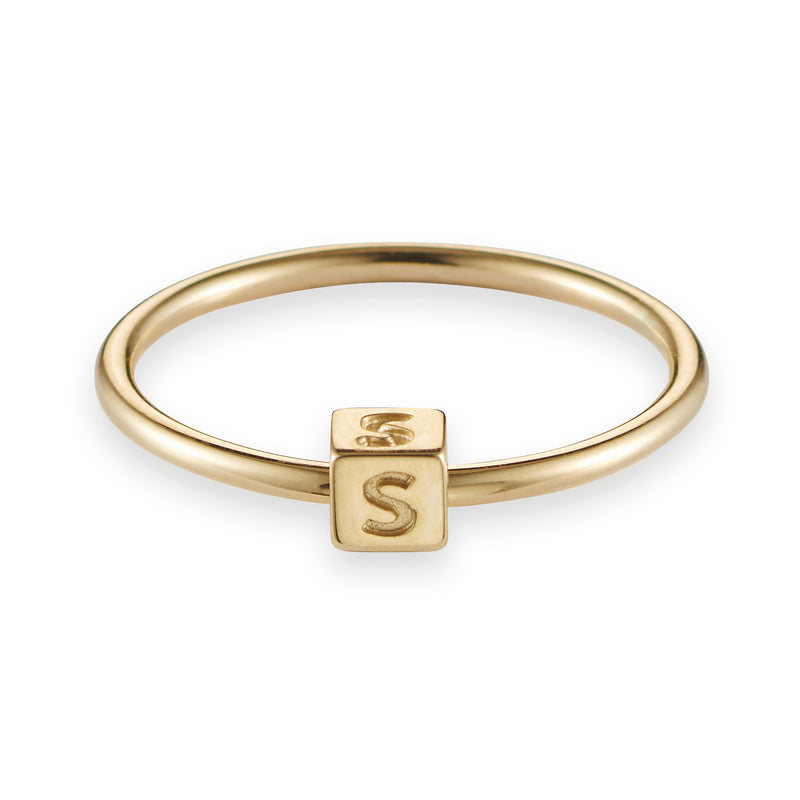 Cube Initial Ring in Yellow Gold