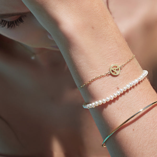 Initial Bracelet in Solid Gold