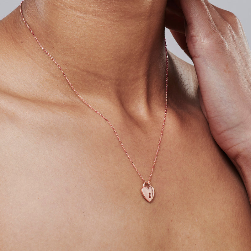 Key to my Heart Necklace in Rose Gold
