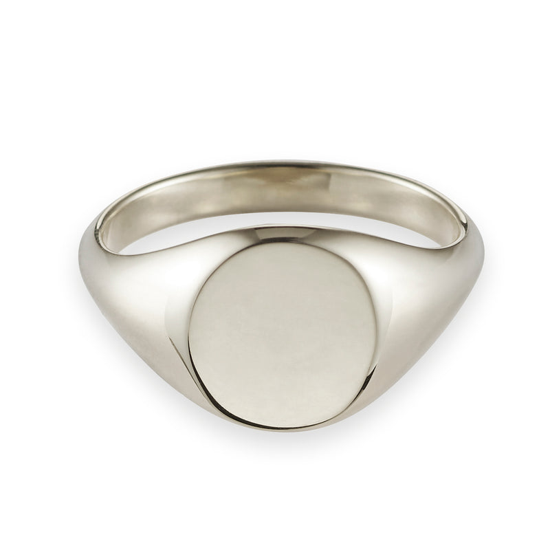 Large Signet Ring in White Gold