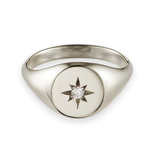 Large Diamond Signet Ring in White Gold