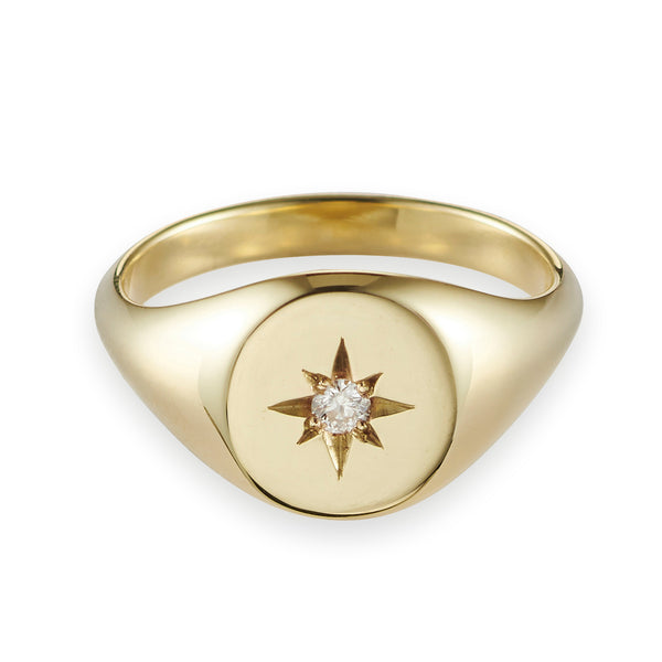Large Diamond Signet Ring in Yellow Gold