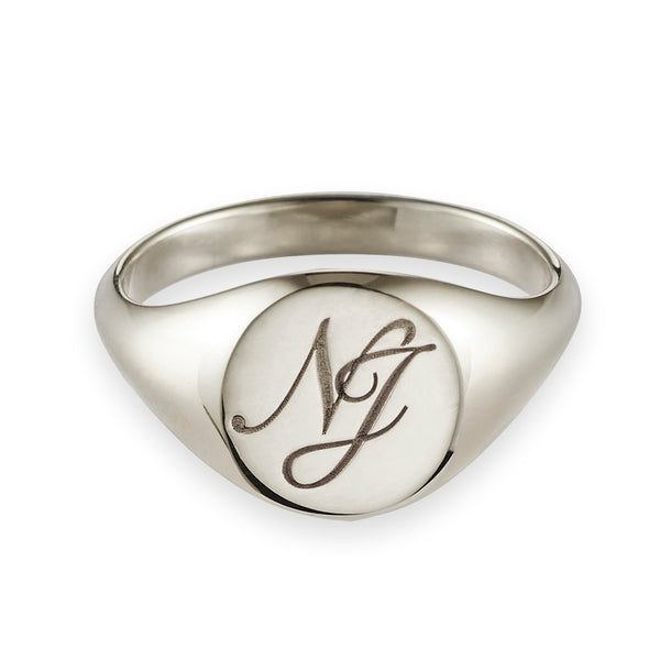 Monogrammed Large Signet Ring in White Gold