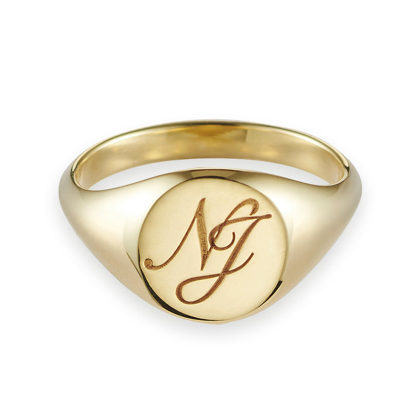 Monogrammed Large Signet Ring in Yellow Gold