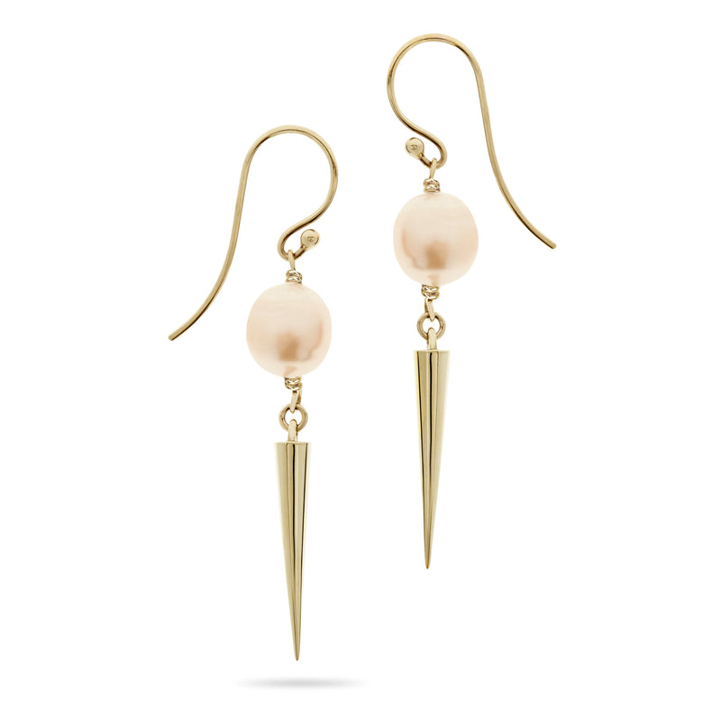 Gold and Pearl Spiked Drop Earrings by Luke Rose