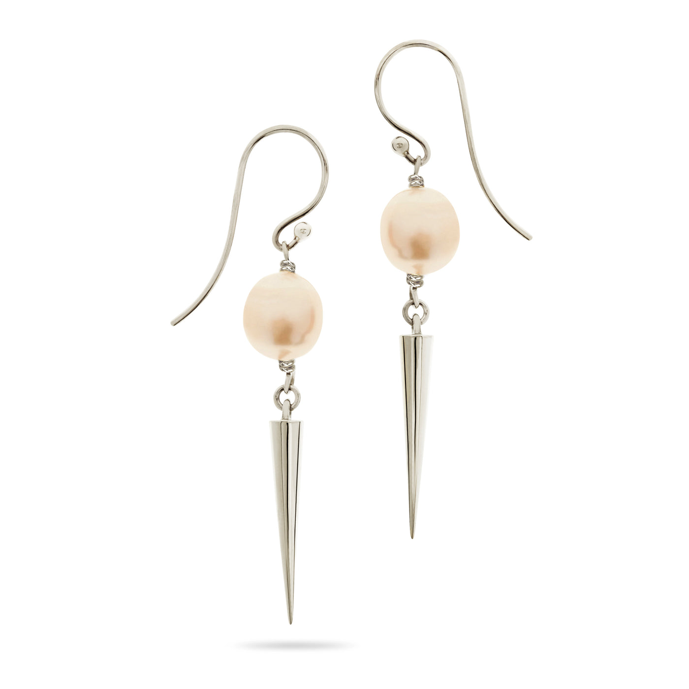 Silver and Pearl Spiked Drop Earrings by Luke Rose