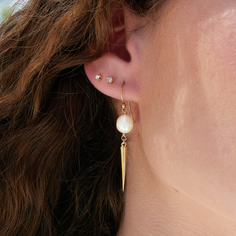 Large Spiked Pearl Earrings in Yellow Gold