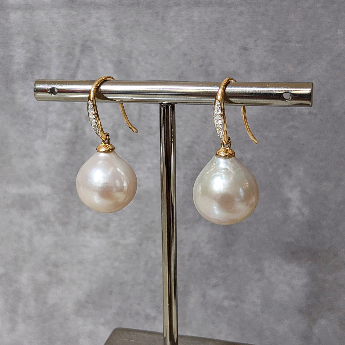 Diamond & Baroque Pearl Earrings