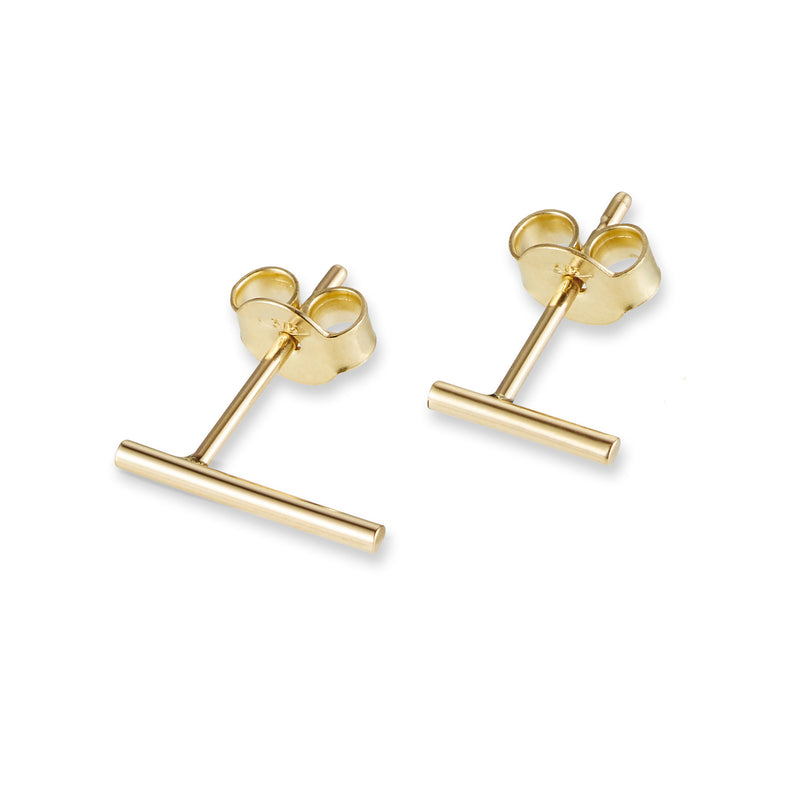 Linear Stud Earring in Yellow Gold