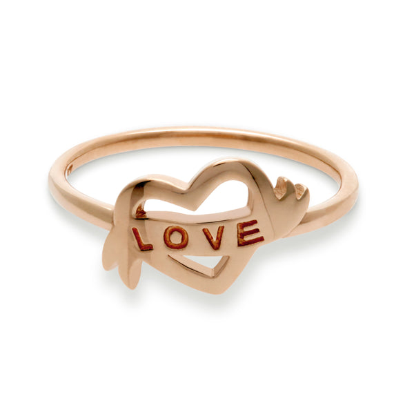 Love Heart Ring in Rose Gold