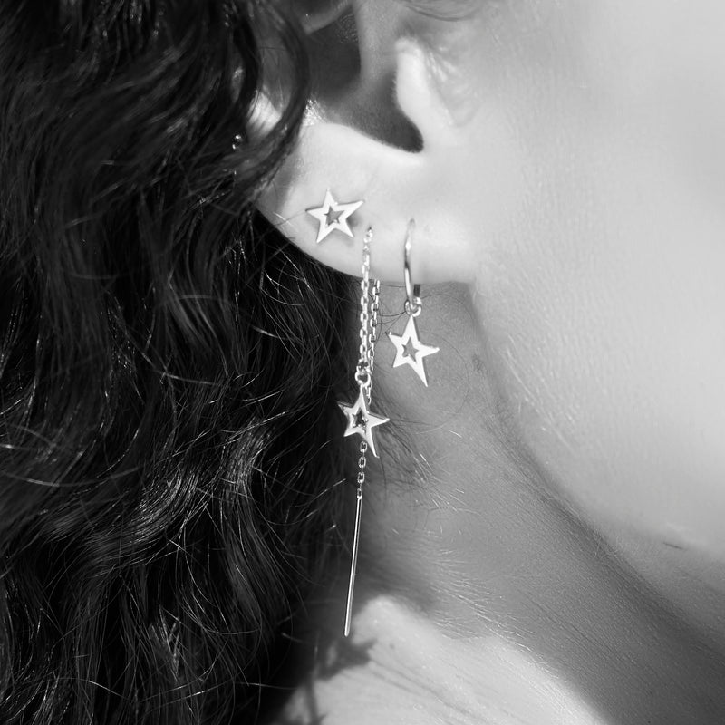 Lucky Star Studs in Sterling Silver