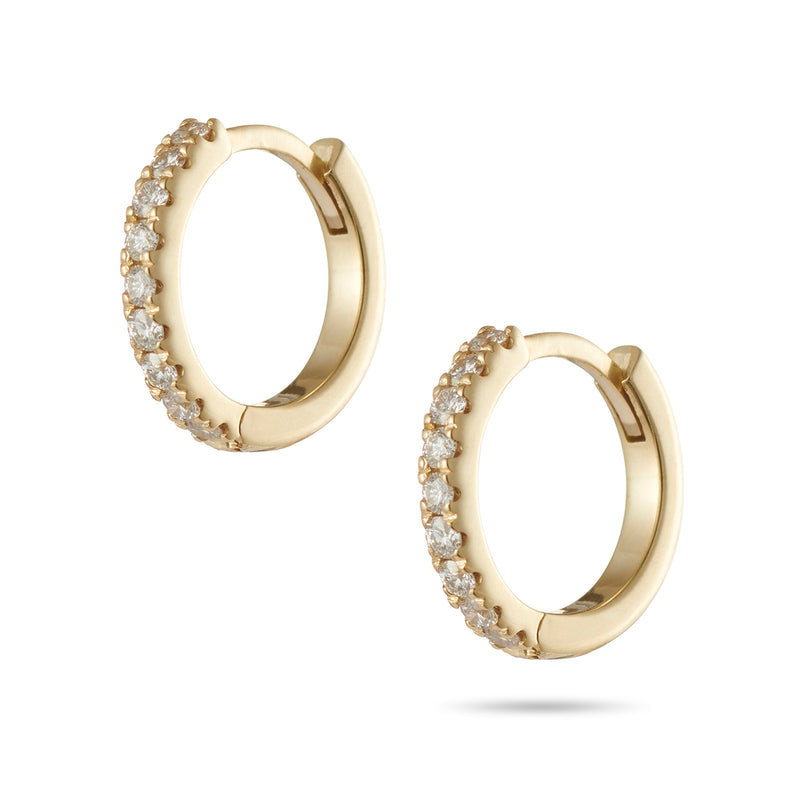 Small Diamond Set Huggie Earrings in Yellow Gold
