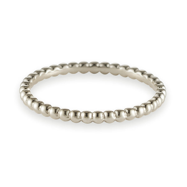 Dot Link Stack Ring in White Gold