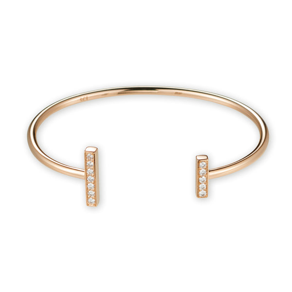 Open Diamond Bar Cuff in Rose Gold