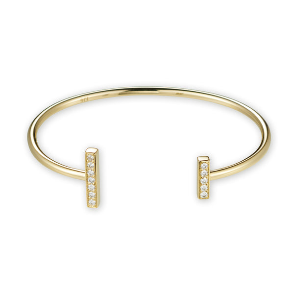 Open Diamond Bar Cuff in Yellow Gold