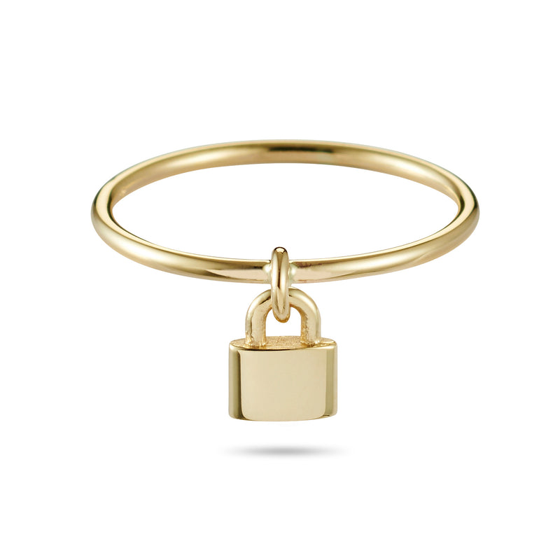 Love Lock Drop Ring in Yellow Gold