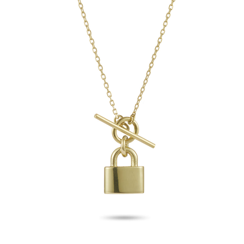 Baby T Bar Love Lock Necklace in Yellow Gold