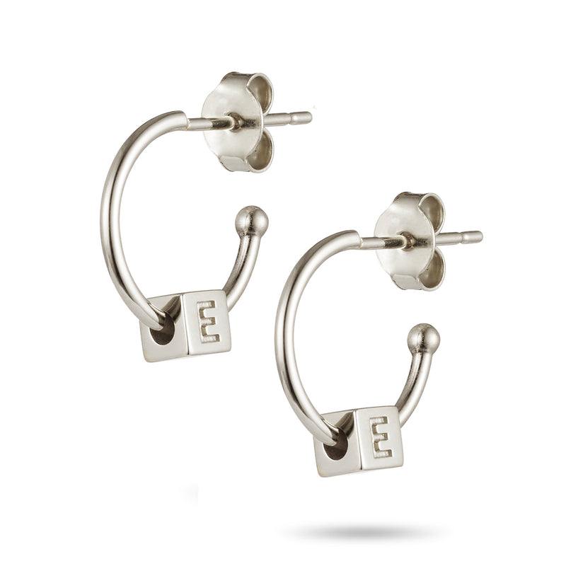 Pair of Initial Cube Earrings in Sterling Silver