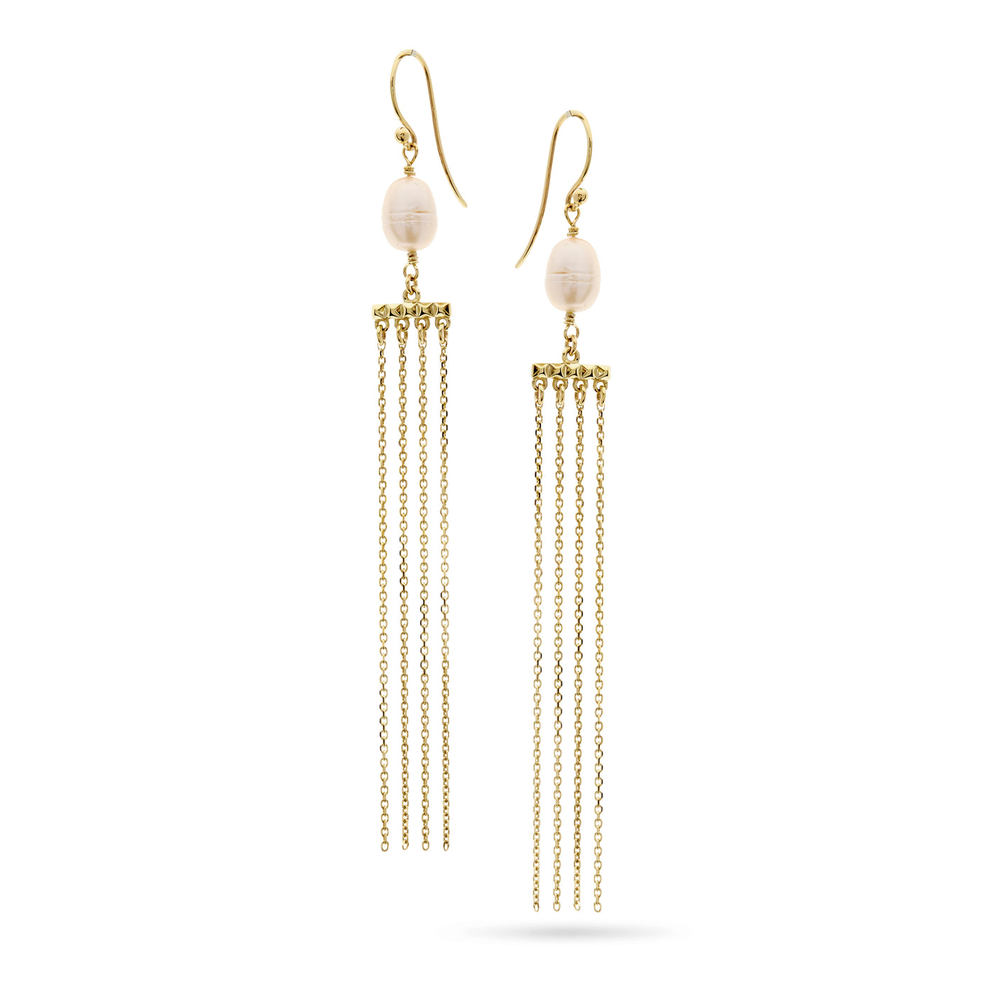 Gold and Pearl Chain Drop Earrings by Luke Rose