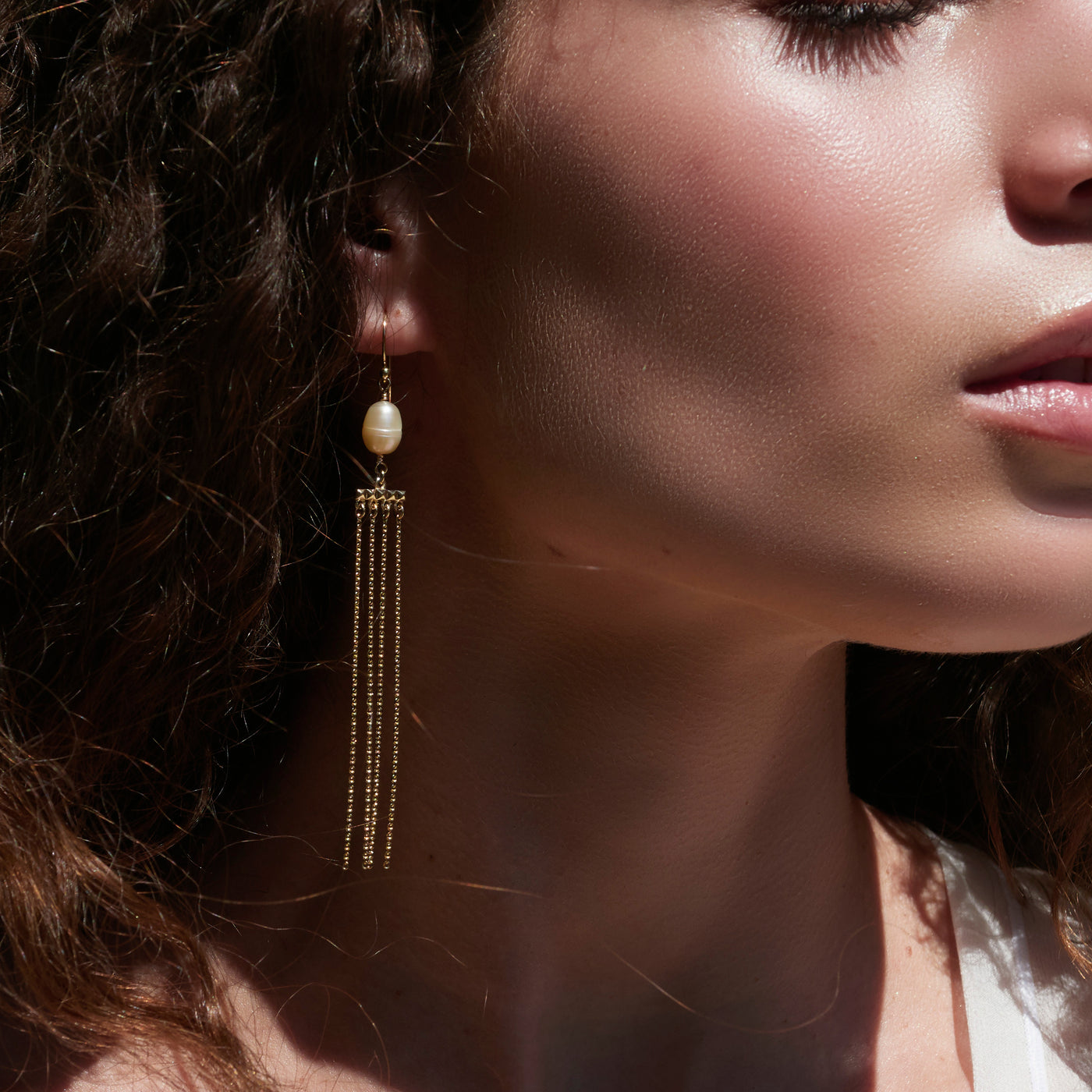 Pearl Drape Earrings in Yellow Gold