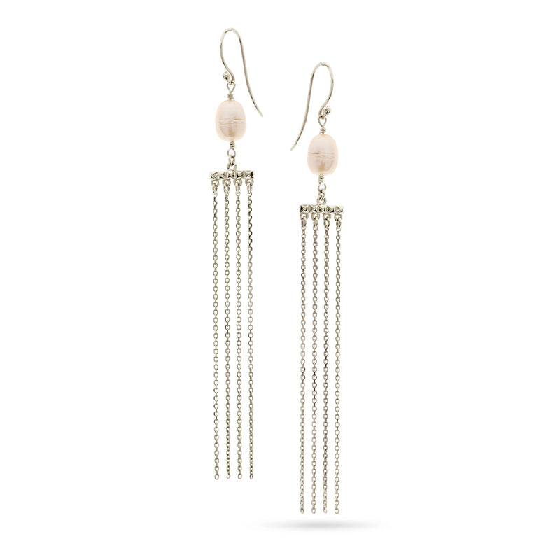Silver and Pearl Chain Drop Earrings by Luke Rose