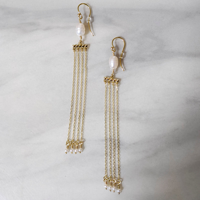 Freshwater Pearl Drape Earrings with Seed Pearl Drops