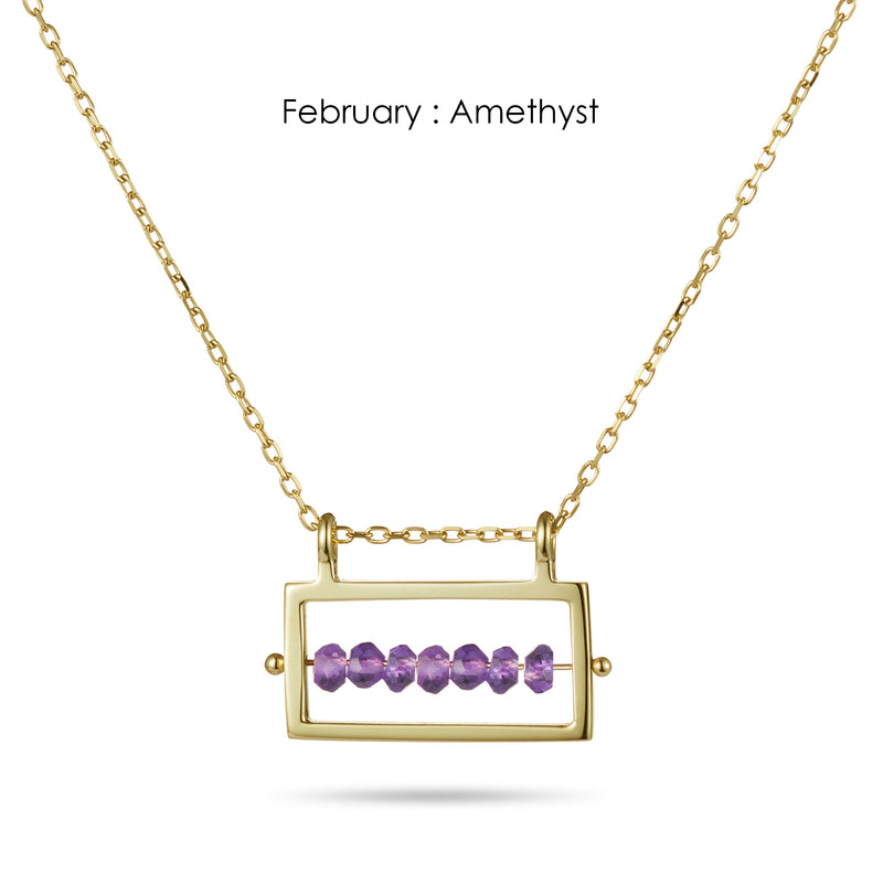 Rectangular Birthstone Abacus Necklace in Yellow Gold
