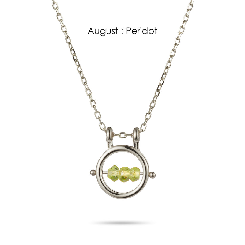 Round Birthstone Abacus Necklace in Sterling Silver