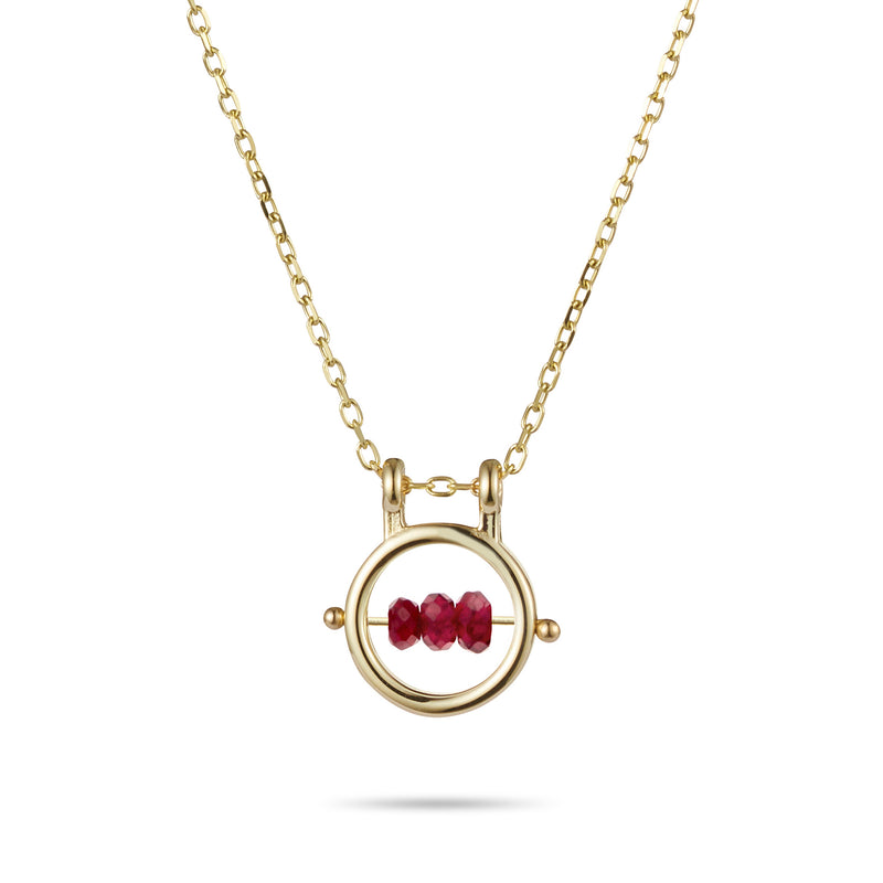 Round Birthstone Abacus Necklace in Yellow Gold