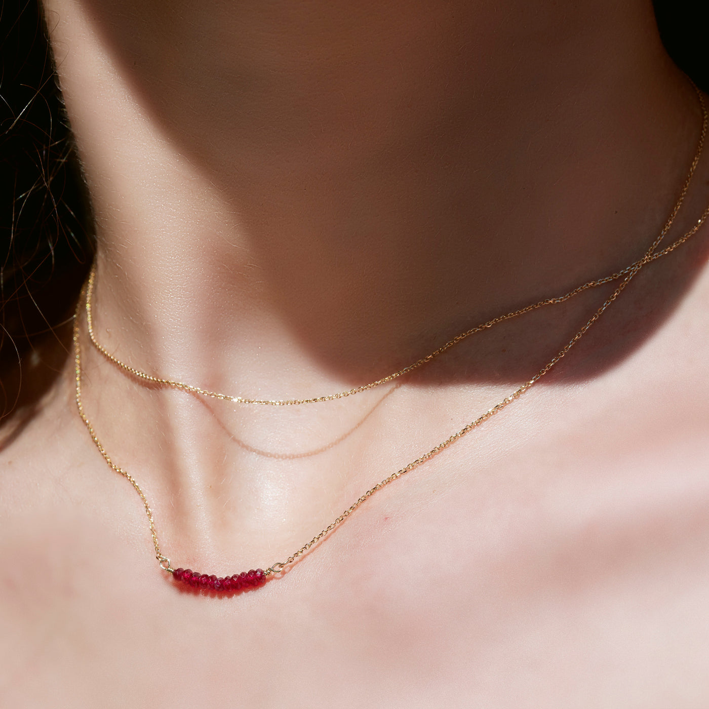 Ruby Smile Necklace in Yellow Gold