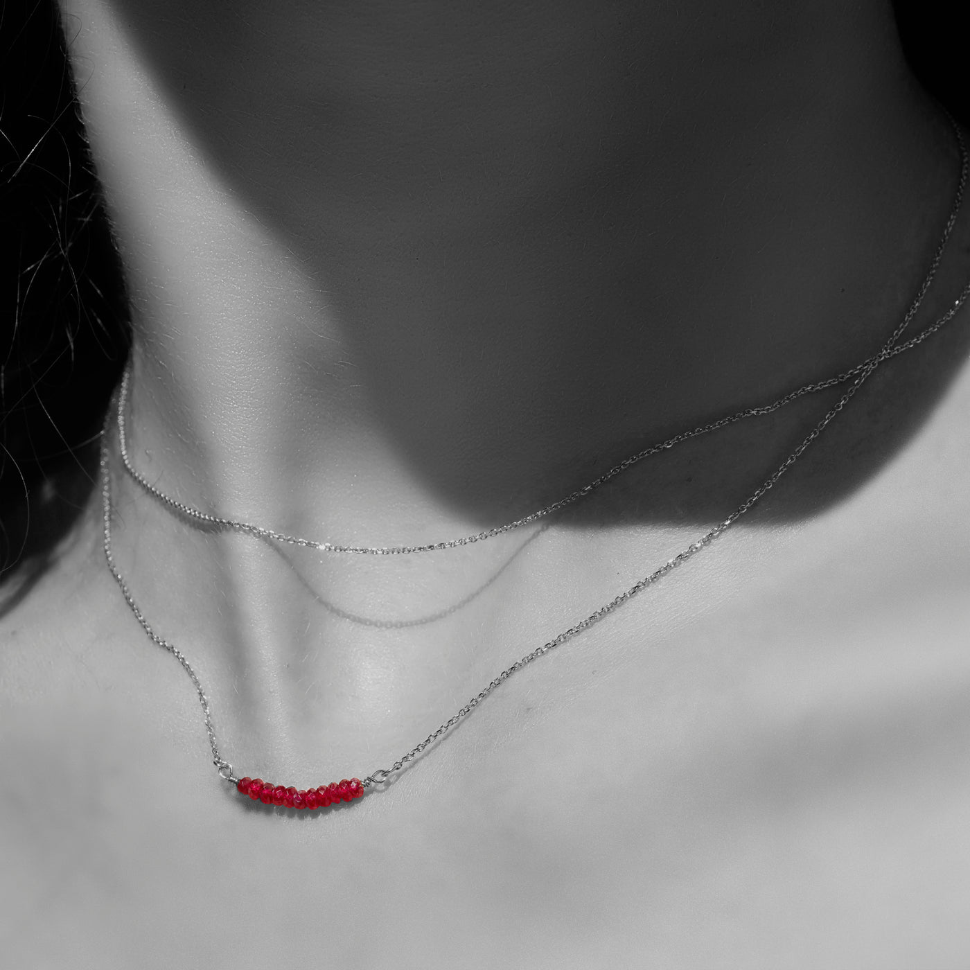 Ruby Smile Necklace in Sterling Silver