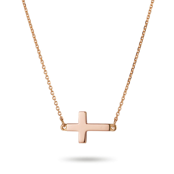 Sideways Crucifix Necklace in Rose Gold