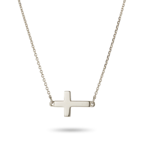 Sideways Crucifix Necklace in Sterling Silver