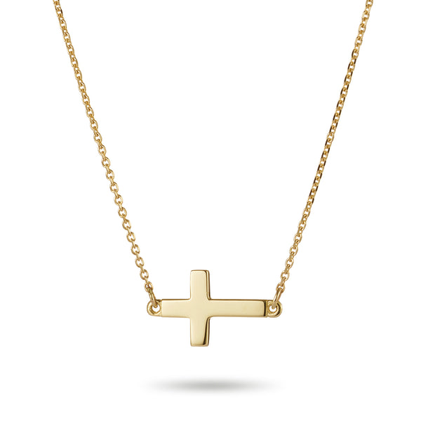 Sideways Crucifix Necklace in Yellow Gold