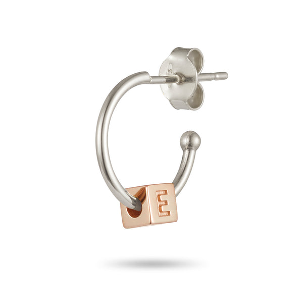 Single Initial Earring in Sterling Silver and Rose Gold