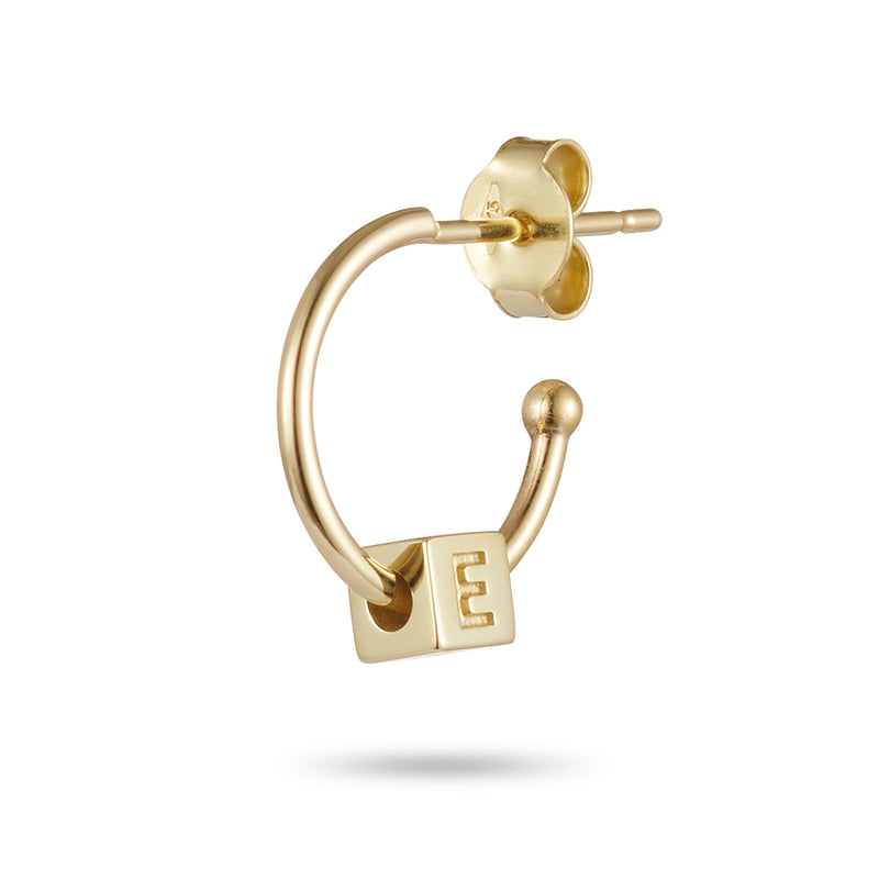 Single Initial Earring in Yellow Gold